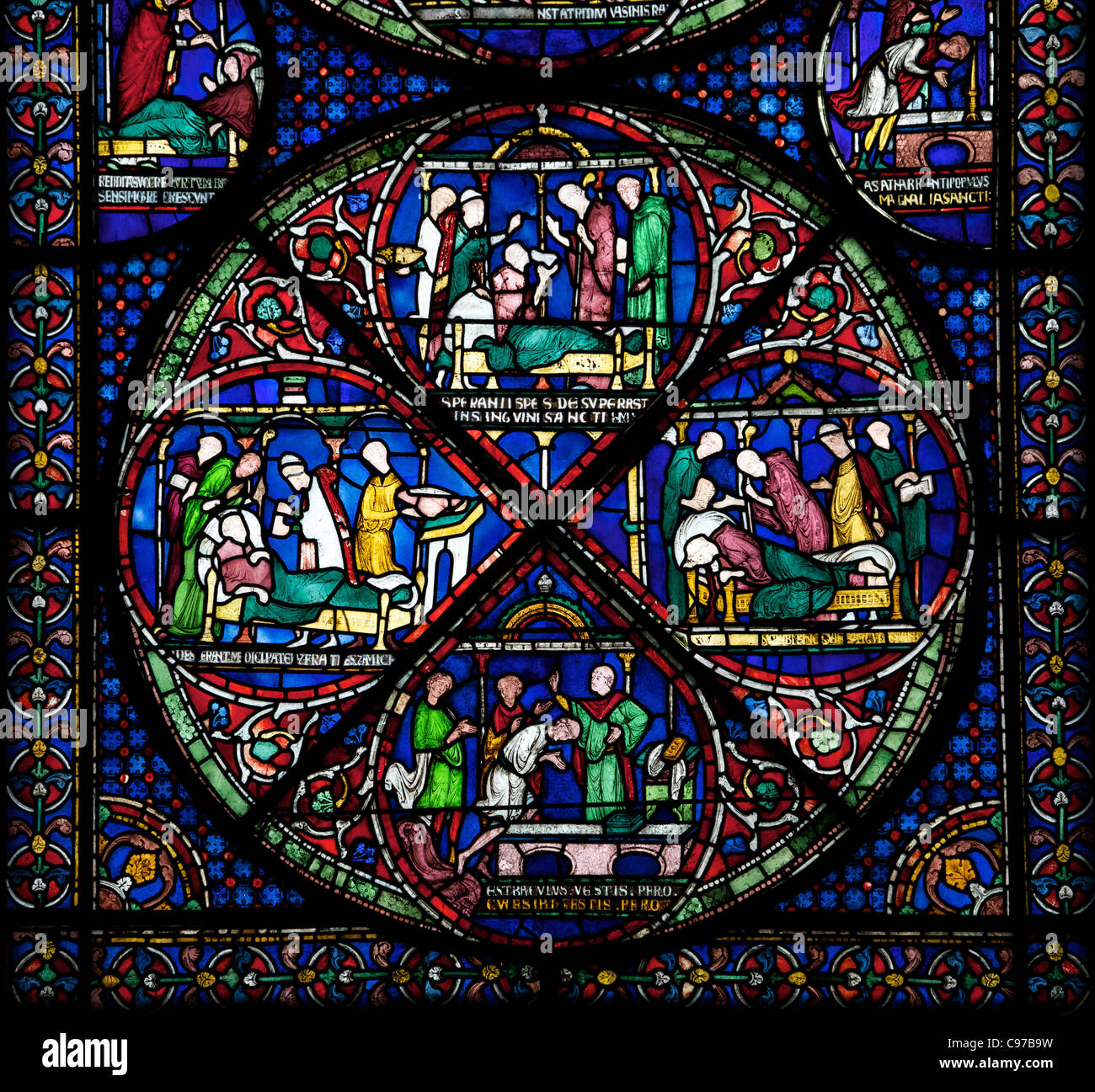 Cure of Hugh of Jervaux, Becket Miracle Window 5, Trinity Chapel Ambulatory,medieval stained glass, Canterbury Cathedral, - Stock Image