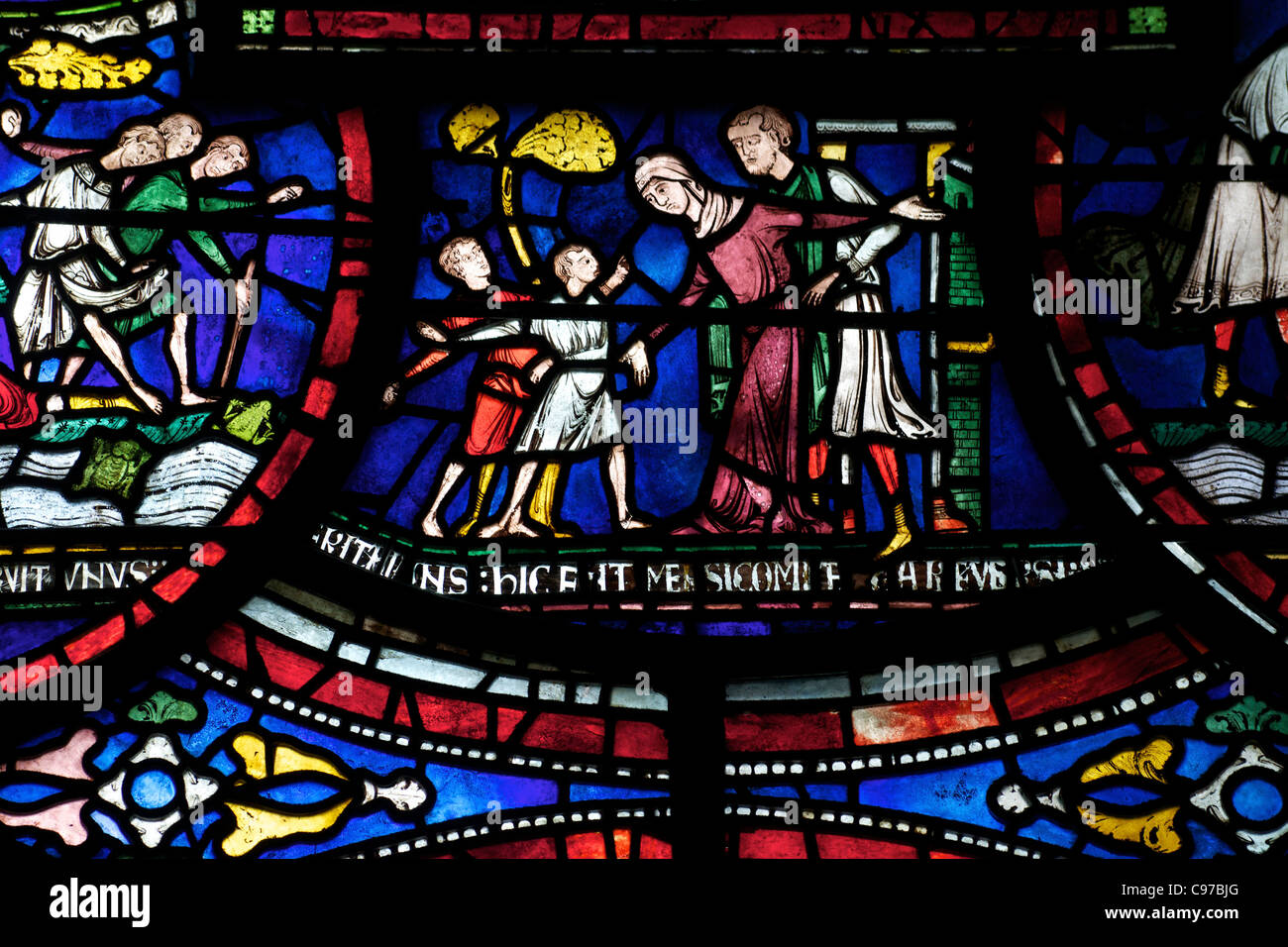 Philip Scot and the Frogs, Becket Miracle Window 6, Trinity Chapel Ambulatory, medieval stained glass, Canterbury - Stock Image