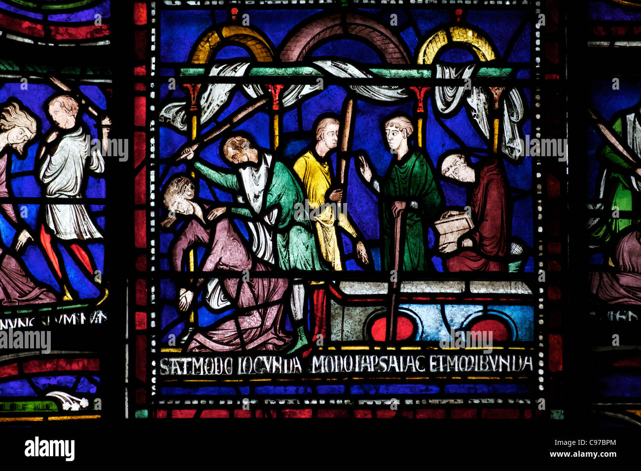 Mad Matilda of Cologne, Becket Miracle Window 6, Trinity Chapel Ambulatory, medieval stained glass, Canterbury Cathedral, - Stock Image