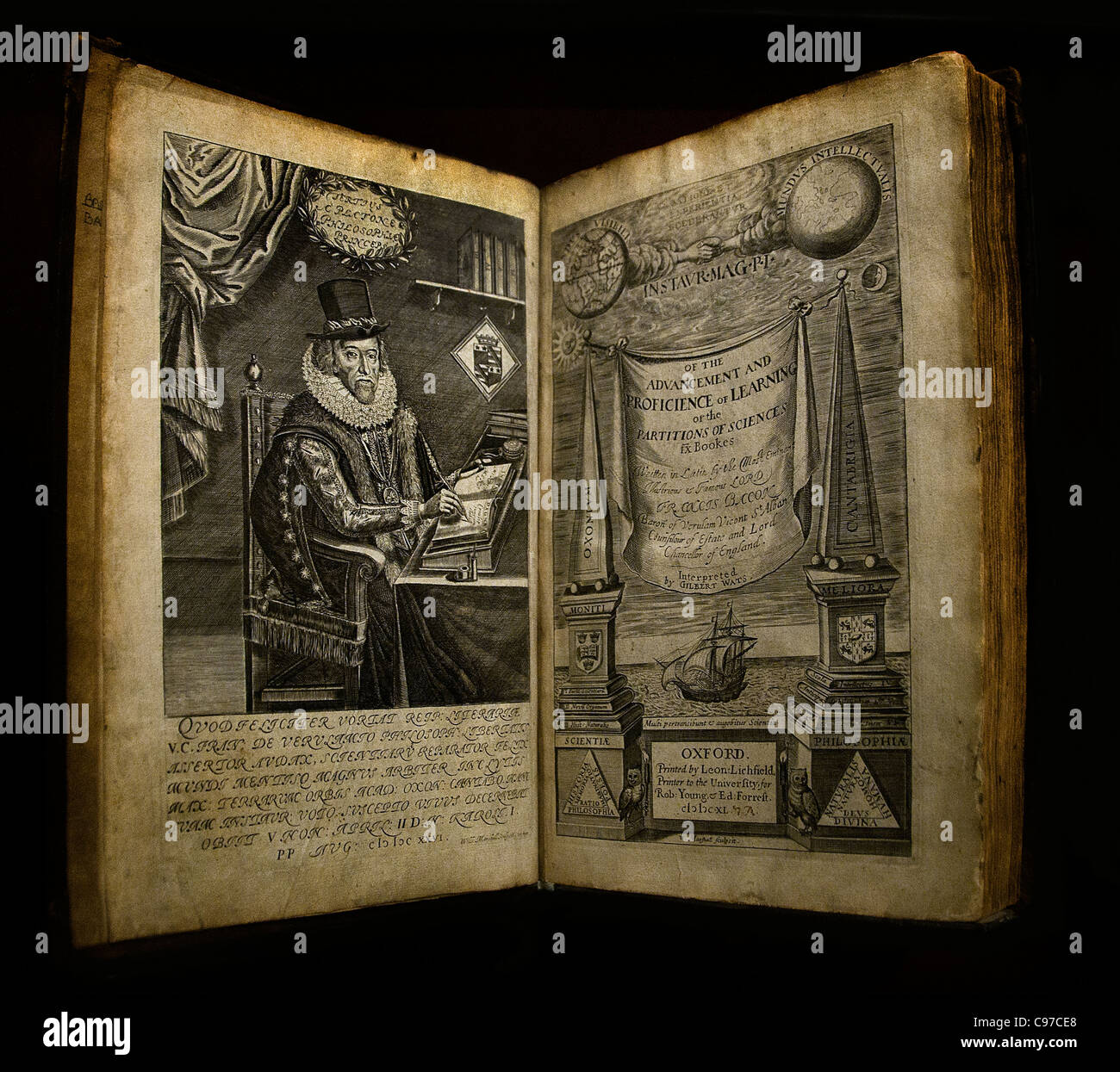 Francis Bacon 1561 English philosopher  Advancement  and Proficience of learning - Stock Image