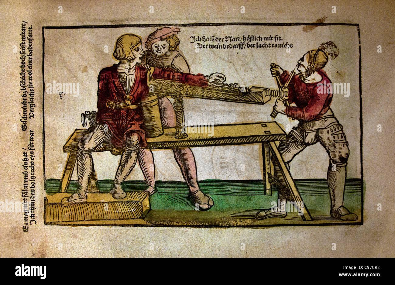 Hans von Gersdorff 1529 surgeon  Field book of wound surgery German Germany - Stock Image