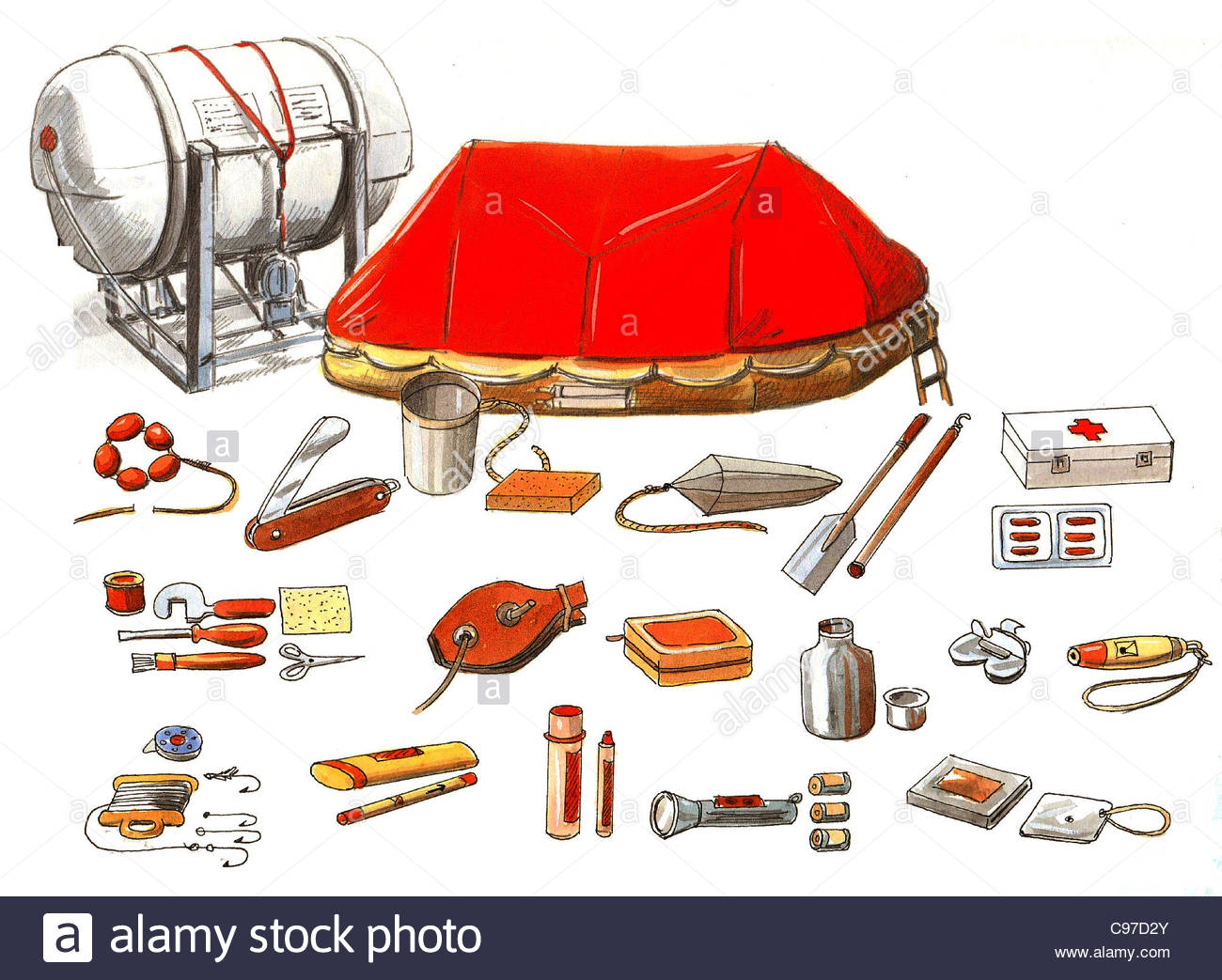 Liferaft Finishings Series Ships E. Kleinert ship Ships shipping shipping s - Stock Image