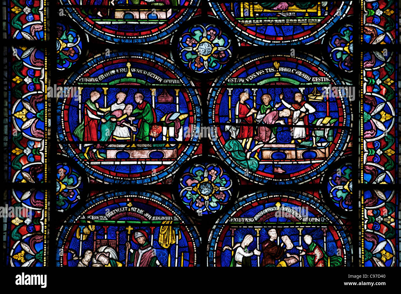 Cure of Robert Cricklade, North Ambulatory n,IV , Trinity Chapel, medieval stained glass, Canterbury Cathedral, - Stock Image