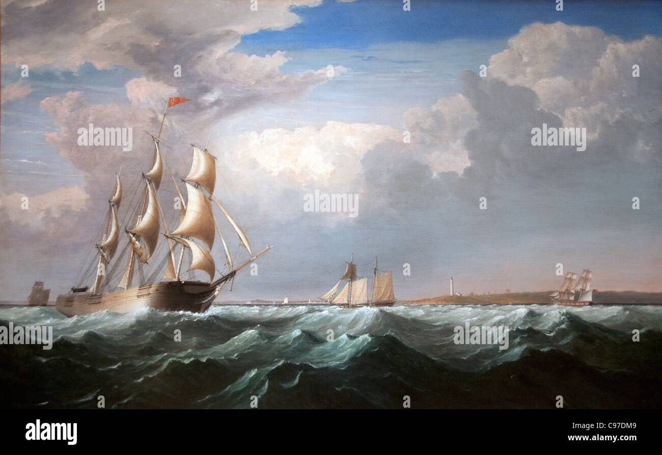 Sailing Ships off the New England Coast 1855 by Henri Lane American - Stock Image