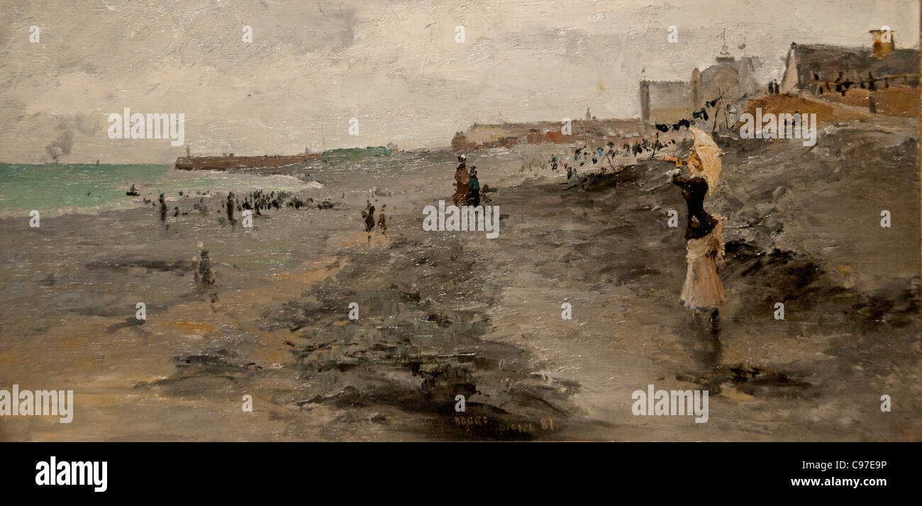 Beach Dieppe France French 1881 by Frank Myers Boggs - Stock Image