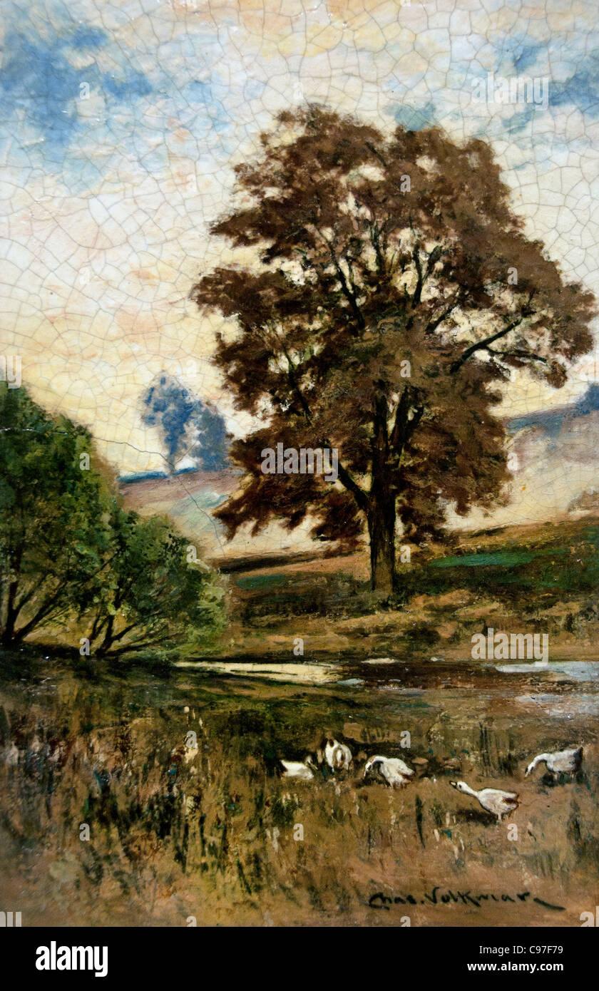 Pastoral Scene 1890 Charles Volmar American Painter - Stock Image