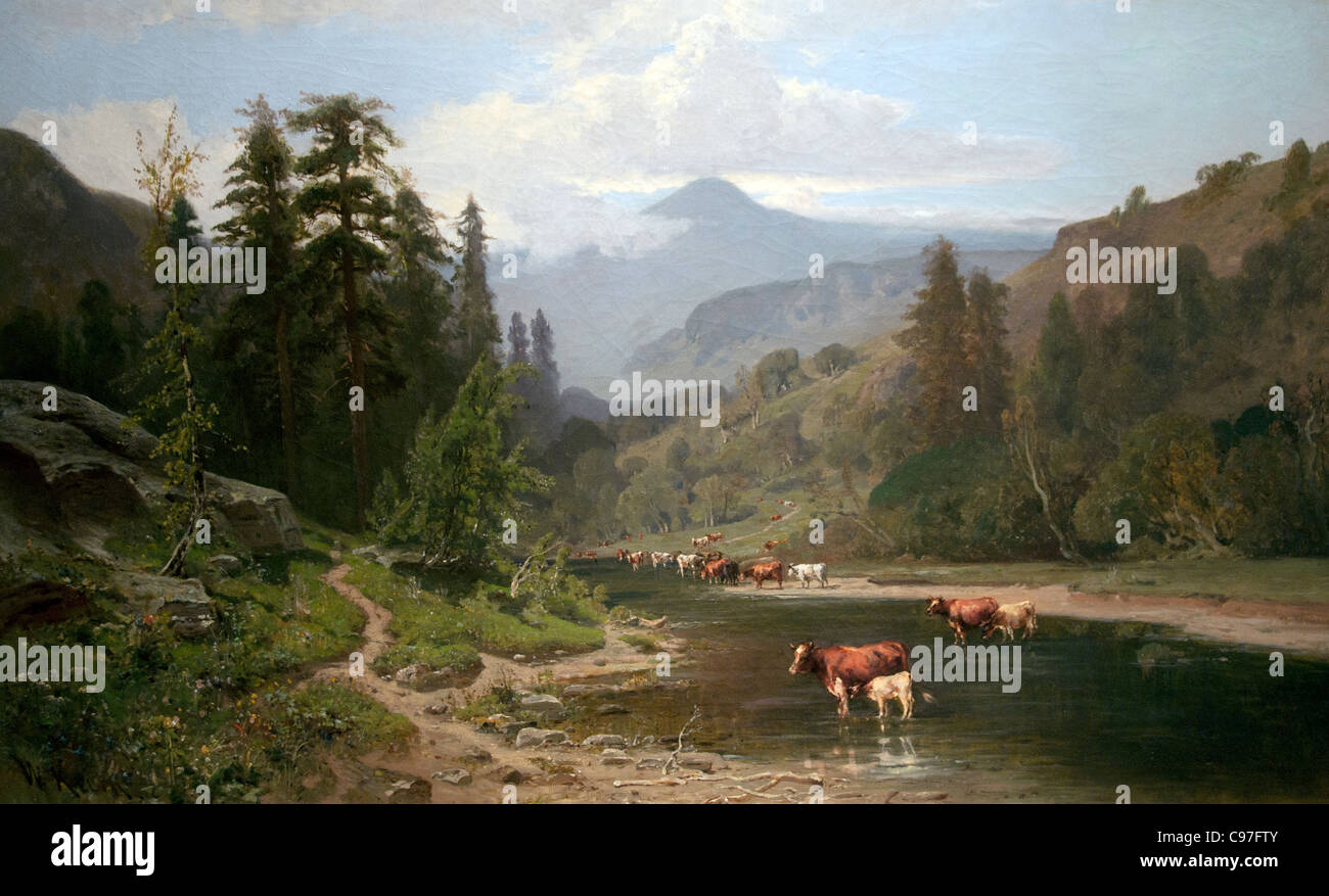 Mountain Landscape with cattle 1879 by William Keith British - Stock Image