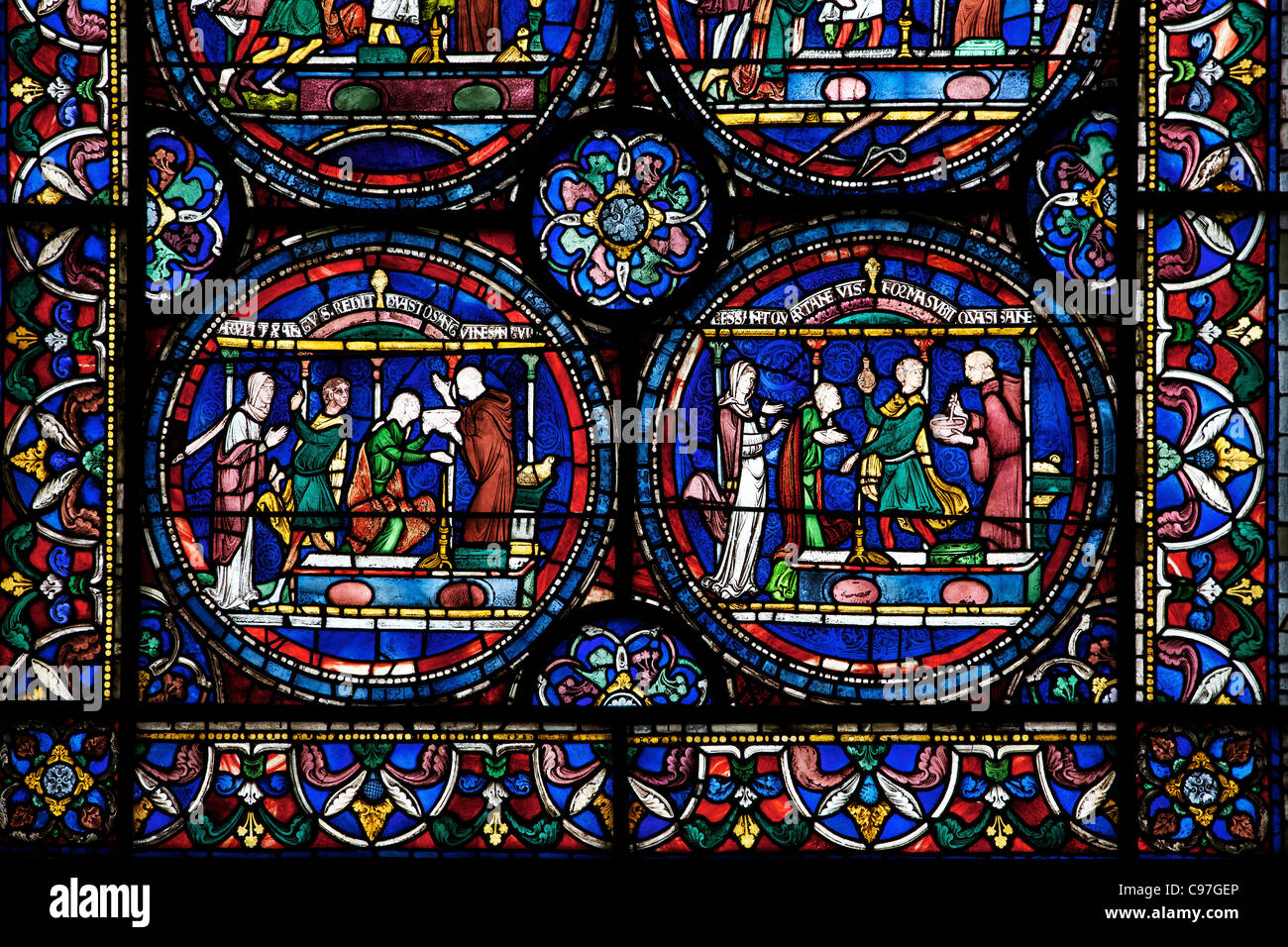 Cure of Ethelreda by Blood of St Thomas, North Ambulatory n,IV , Trinity Chapel Ambulatory, medieval stained glass, - Stock Image