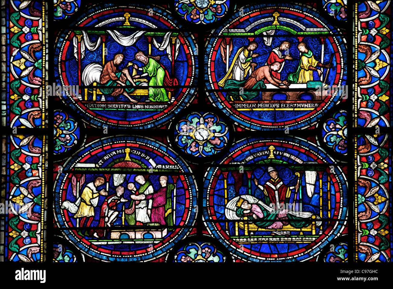 Cure of William of Kellet North Ambulatory n,IV, Trinity Chapel Ambulatory, medieval stained glass, Canterbury Cathedral, - Stock Image