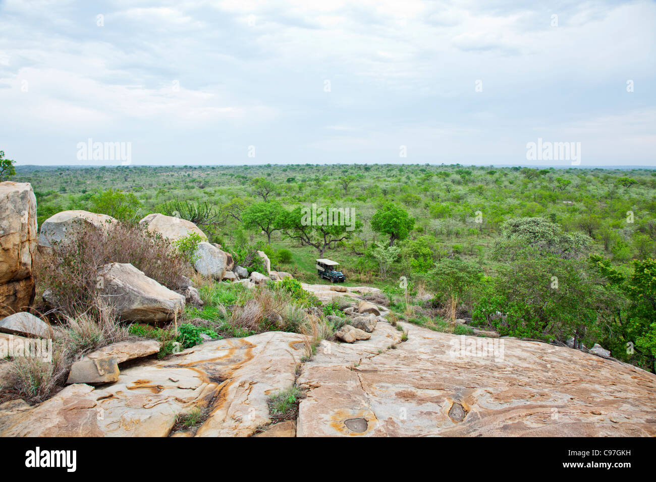 A landscape of the bushveld taken from a granite koppie in the Southern Kruger National Park. - Stock Image