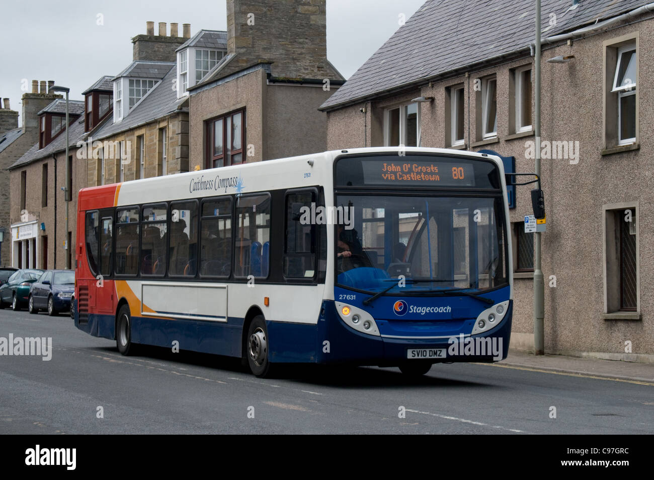 An Alexander Dennis Enviro 300 of Stagecoach passes through the streets of Thurso on its way to John O'Groats - Stock Image