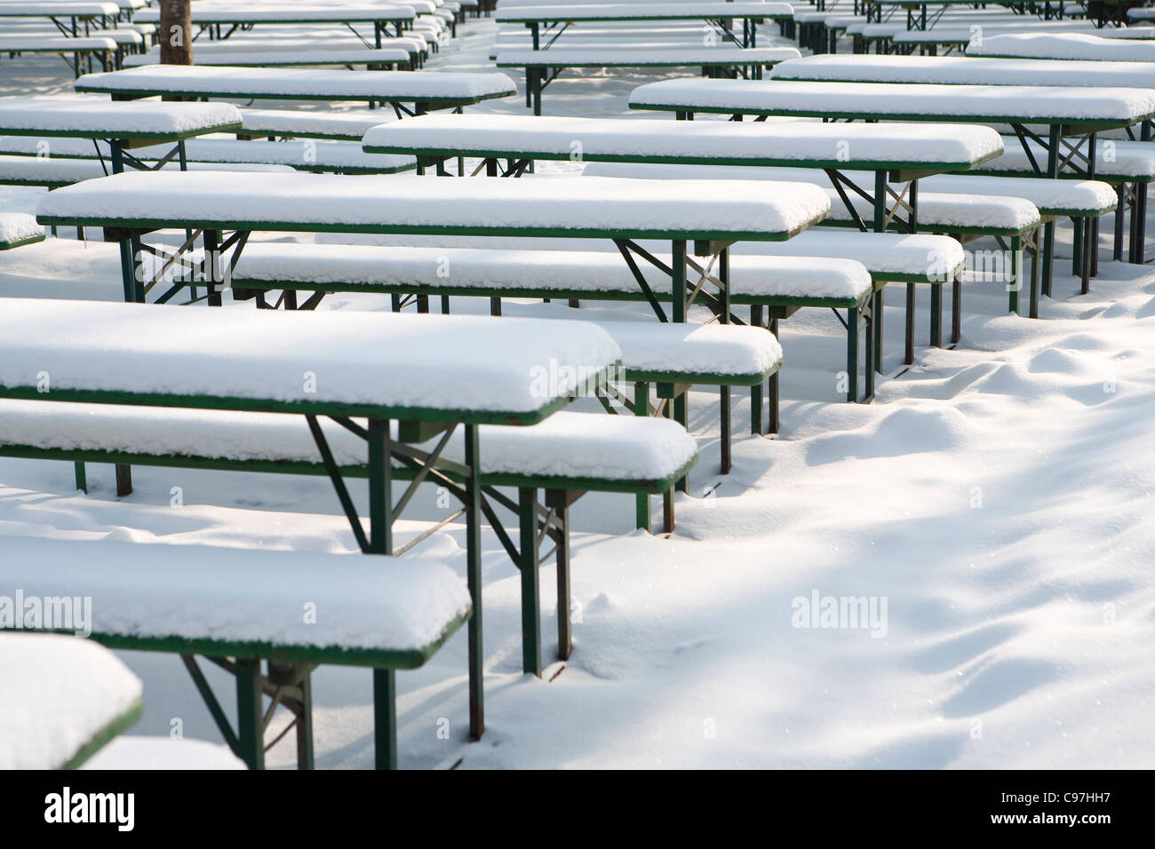 Swell Snow Covered Beer Tables And Benches In English Garden Evergreenethics Interior Chair Design Evergreenethicsorg