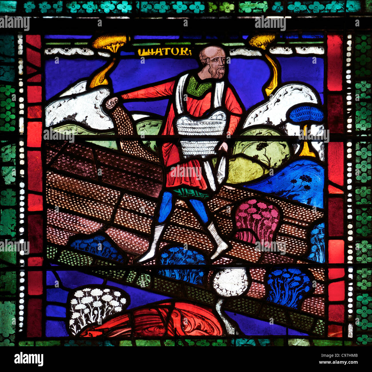 The Sower on Good Ground and Among Thorns, Sixth  Typological Window, North Quire Isle, n.XV, medieval stained glass, - Stock Image