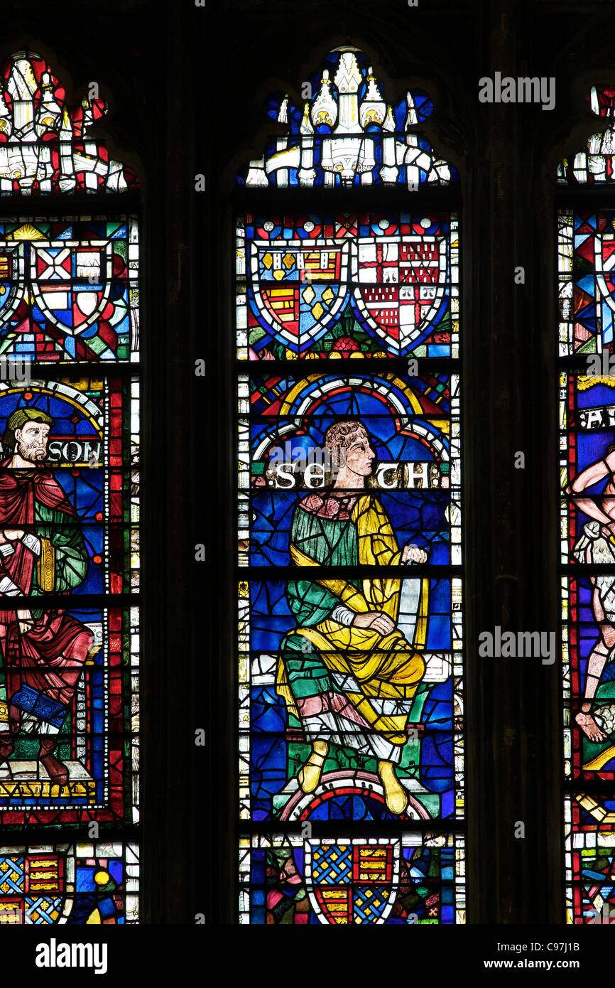 Seth, Geneaology of Christ, Medieval stained glass, West Window, Canterbury Cathedral, Kent, England, UK, United - Stock Image