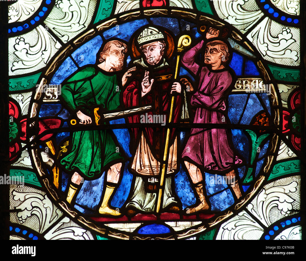 Murder of St Thomas a Becket, medieval stained glass, Canterbury Cathedral, Kent, England, UK, United Kingdom, GB, - Stock Image