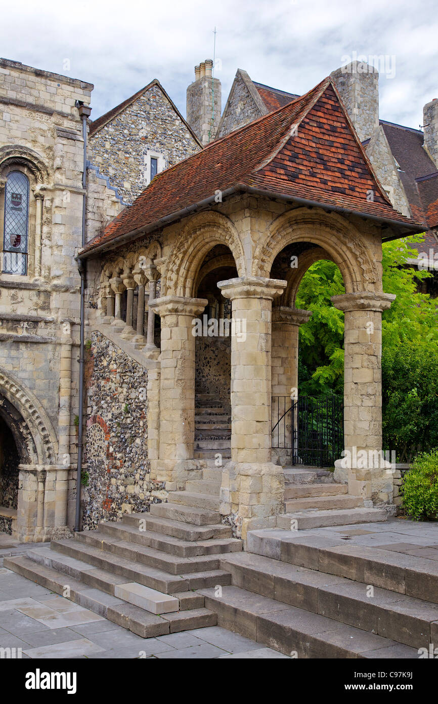 Norman Staircase, circa 1153, at King's School, Canterbury, Kent, England, UK, United Kingdom, GB, Great Britain, - Stock Image