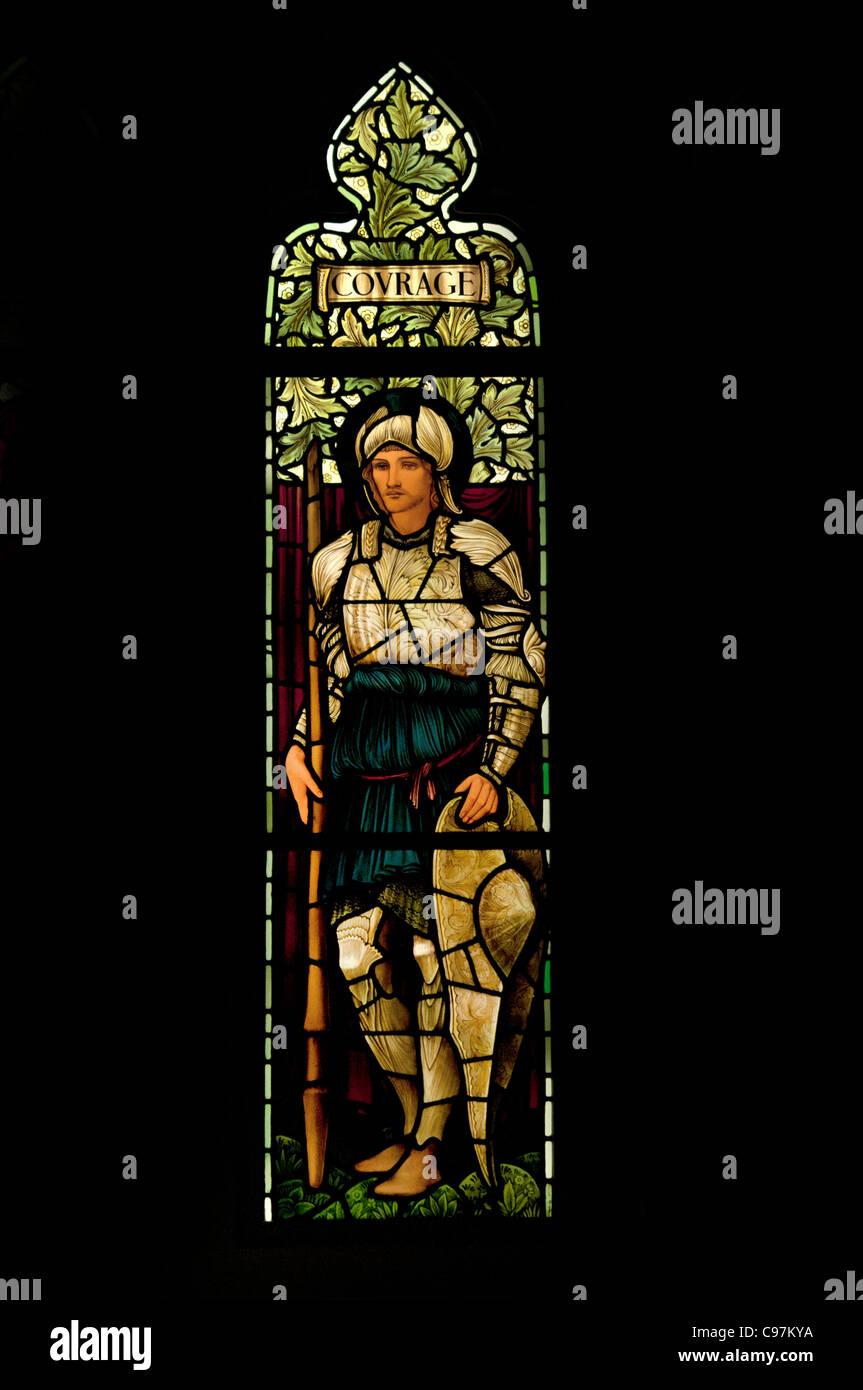 David Healey Memorial Window 1898 Unitarian Chapel Lancashire By Edward Burne Jones and John Henri Dearle British - Stock Image