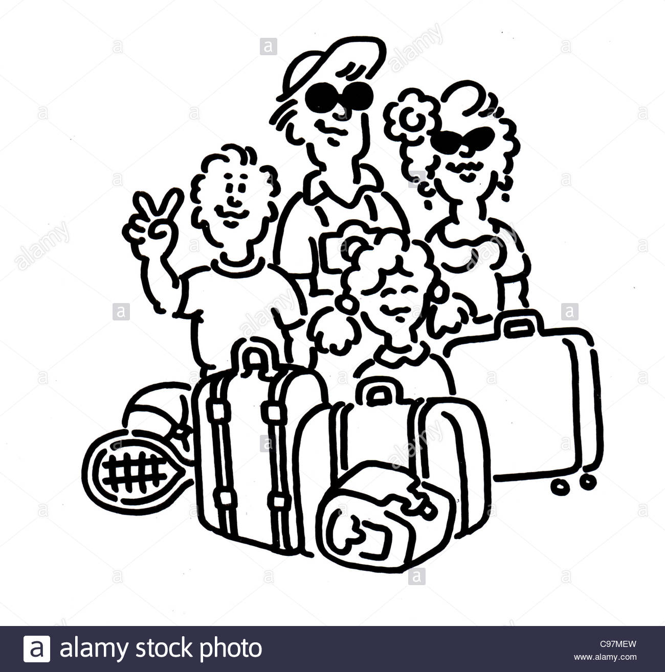 World Travel Drawing Black And White Stock Photos Images