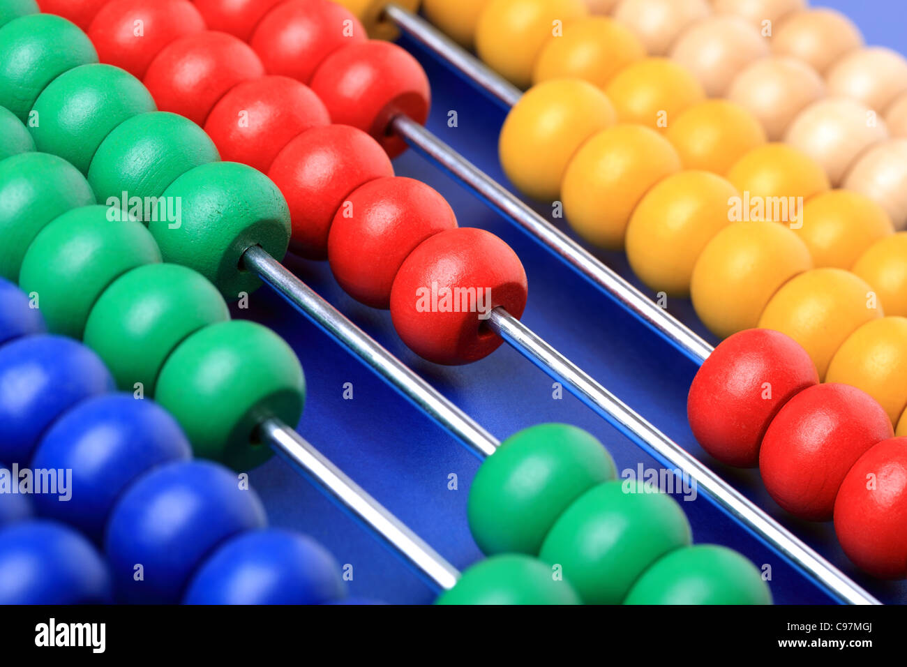 Abacus with coloured beads - Stock Image