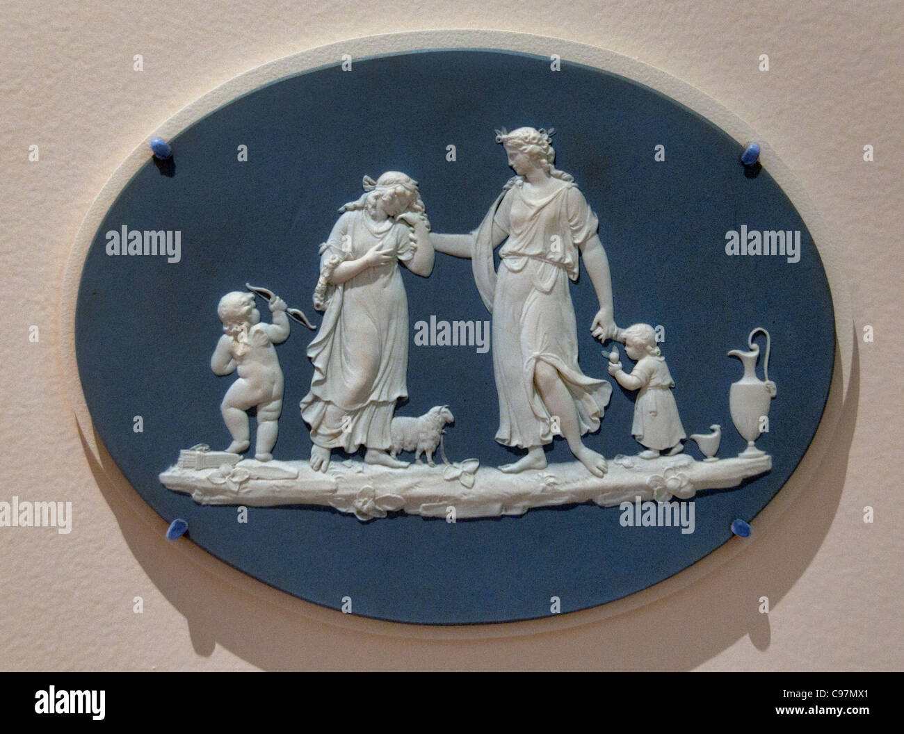 Blue Jasper Oval Plaque offering to Peace 18th Cent Joshiah Wedgwood and sons Stoneware  English England - Stock Image