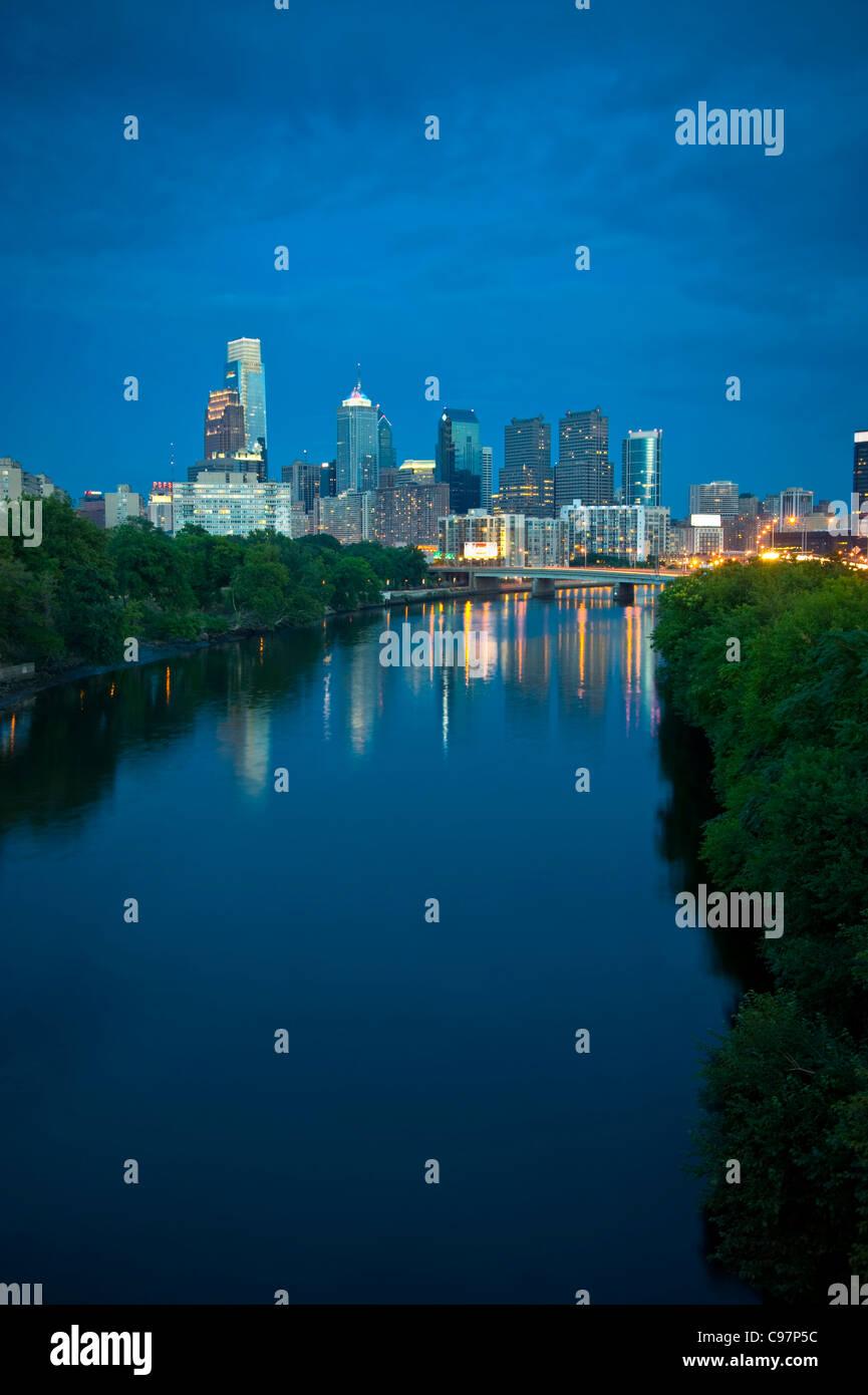 Philadelphia Skyline Cityscape At Night - Stock Image