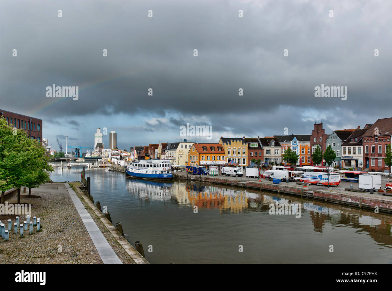 Inland harbour of Husum, Schleswig-Holstein, Germany - Stock Image