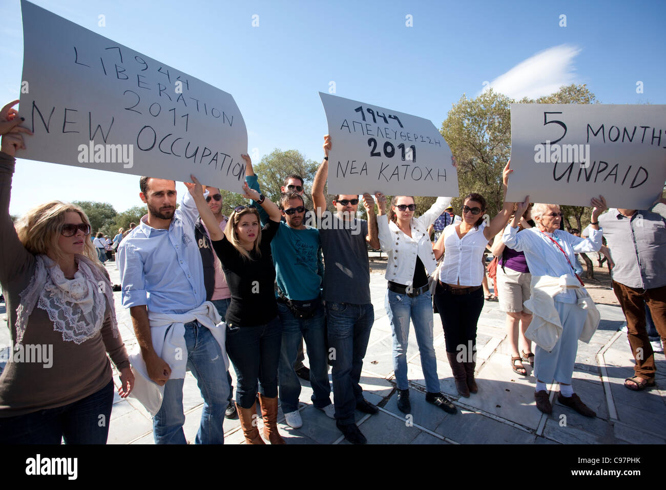 demonstration against austerity cuts Athens, Greece.Photo:Jeff Gilbert - Stock Image
