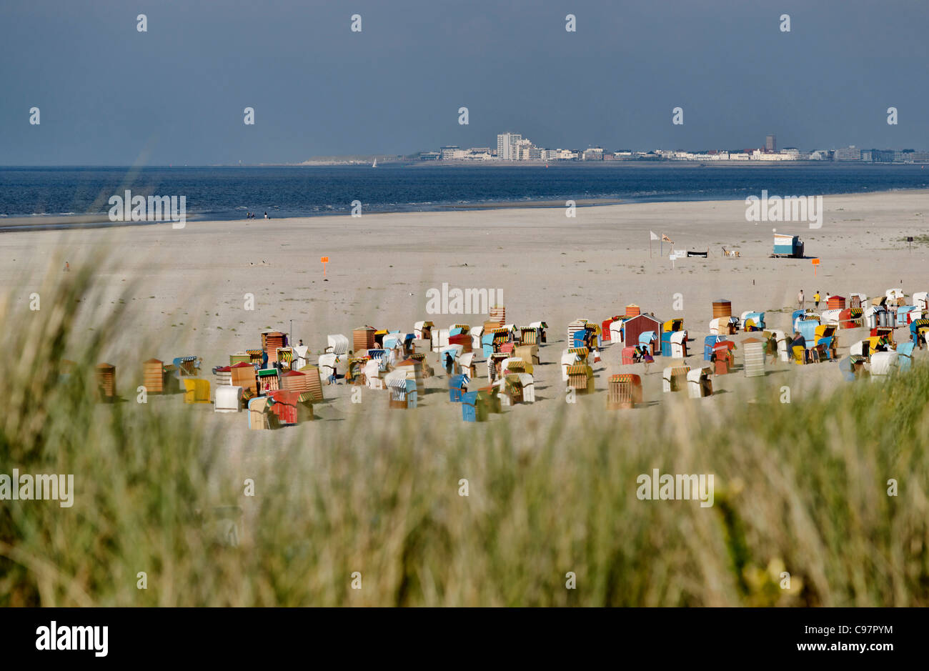 Main Beach with view towards Norderney, North Sea Island Juist, East Frisia, Lower Saxony, Germany Stock Photo