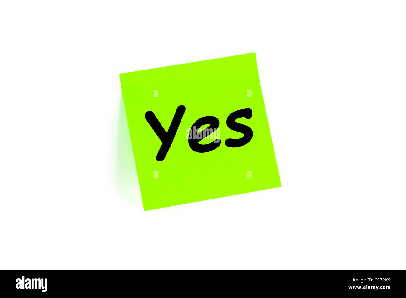 Yes Written On A Note Isolated On White - Stock Image
