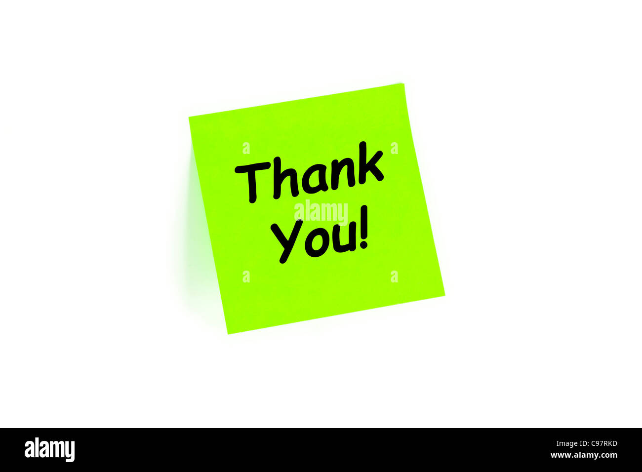 Thank You! On A Note Isolated On White - Stock Image