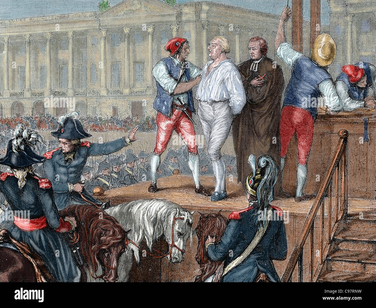 Execution of King Louis XVI (1754-1793) on January 21, 1793. Colored  engraving.