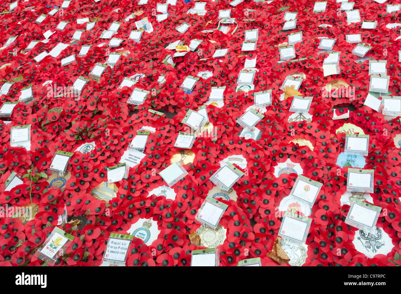 Wreathes of poppies placed next to the cenotaph in Whitehall, Central London, England, on Remembrance Sunday, 2011. - Stock Image