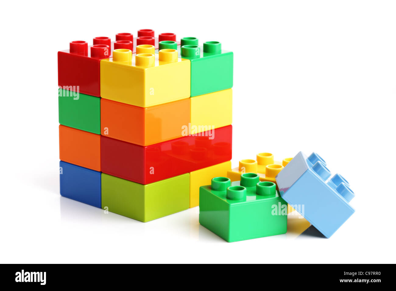 Building blocks on a white background - Stock Image