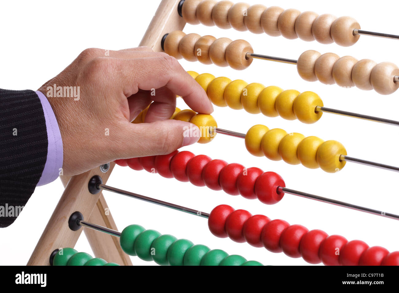 Calculating with an abacus - Stock Image