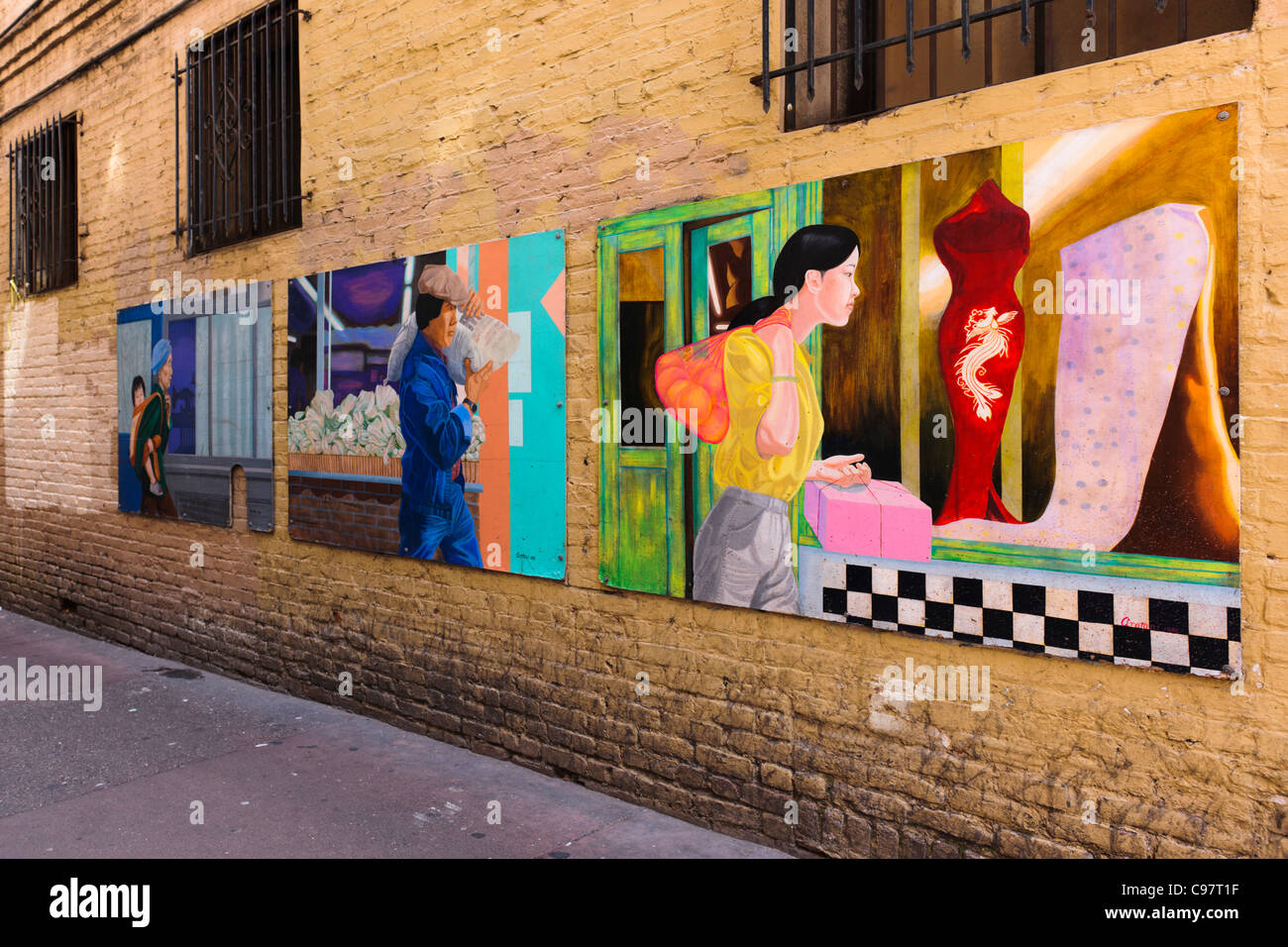 Chinatown Ross Alley Murals San Francisco - Stock Image