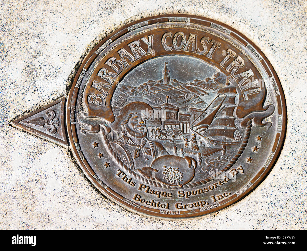 Barbary Coast Trail Medallion, San Francisco - Stock Image