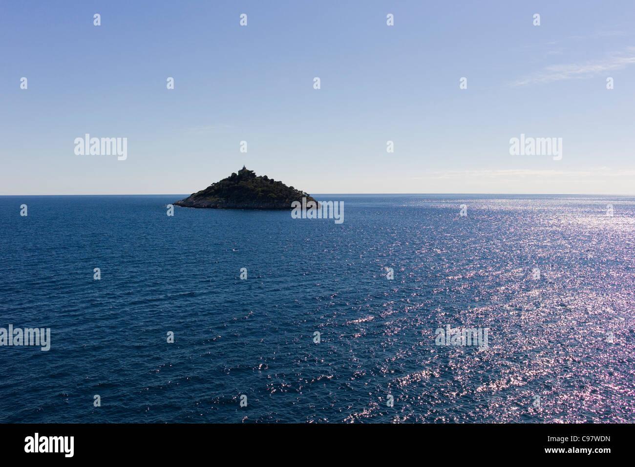 Lighthouse on Sveti Andrija island, Dubrovnik, Croatia, Europe - Stock Image