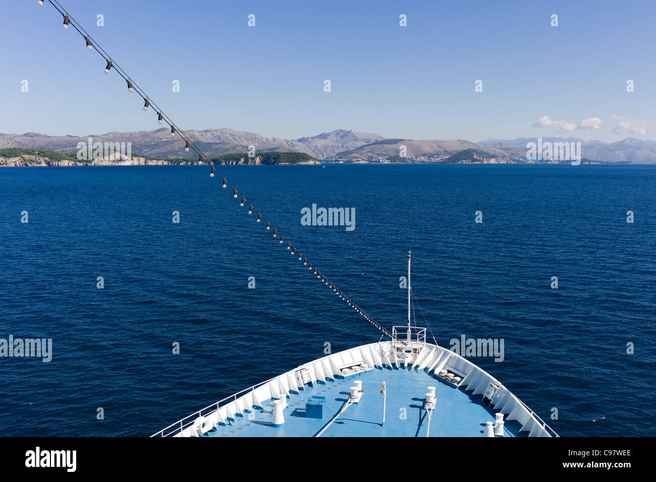 Bow of cruiseship MS Delphin approaching the coastline, Dubrovnik, Croatia, Europe - Stock Image