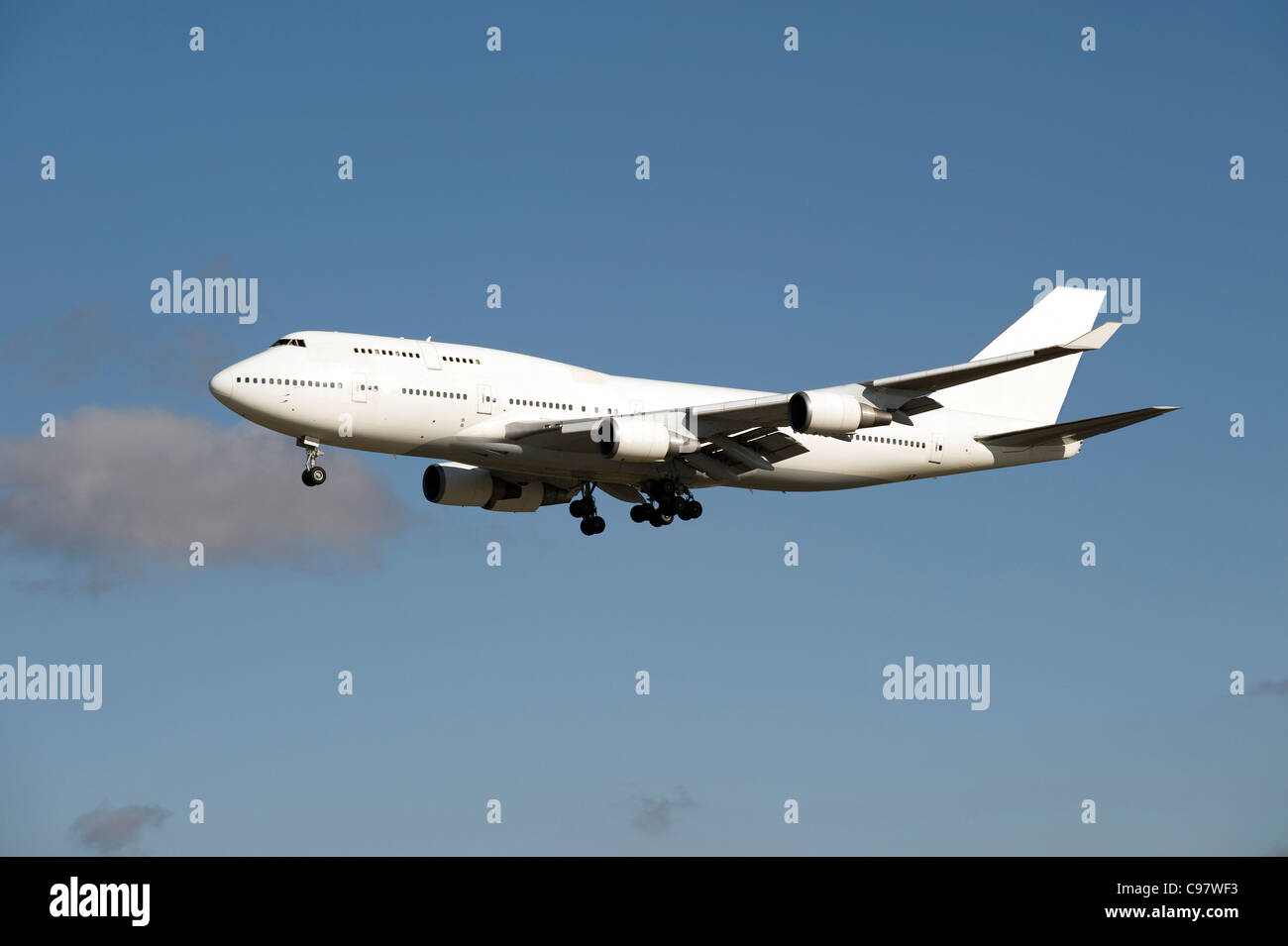 Airplane Boeing 747, plain white, no name or logo, for design layout - Stock Image