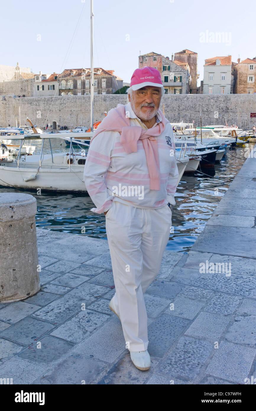 Actor Mario Adorf at Dubrovnik harbor, during film shooting for an ARD Degeto-Mona film, Dubrovnik, Croatia, Europe - Stock Image