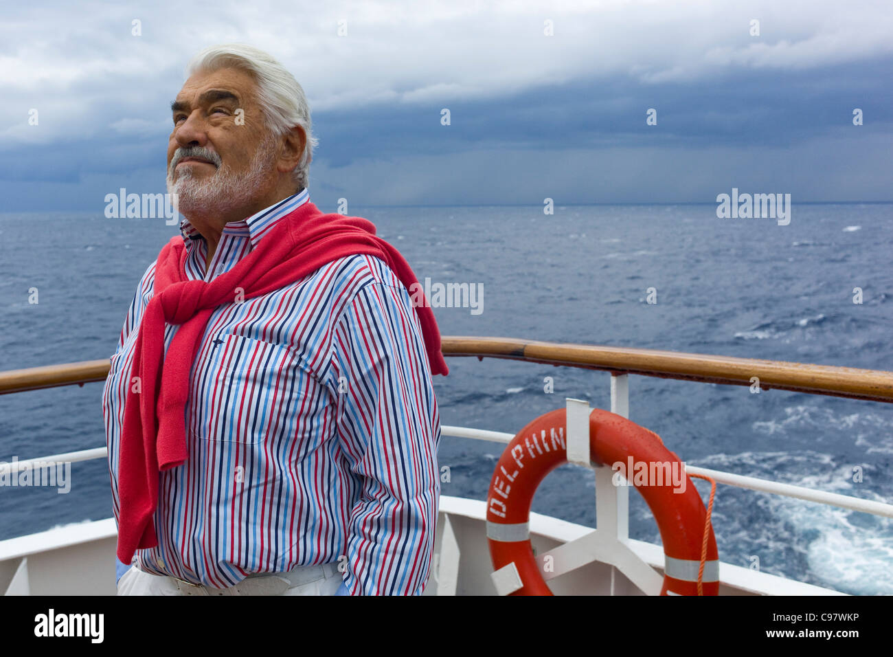 Actor Mario Adorf aboard the cruiseship MS Delphin for the filming of the ARD film Die lange Welle hinterm Kiel - Stock Image