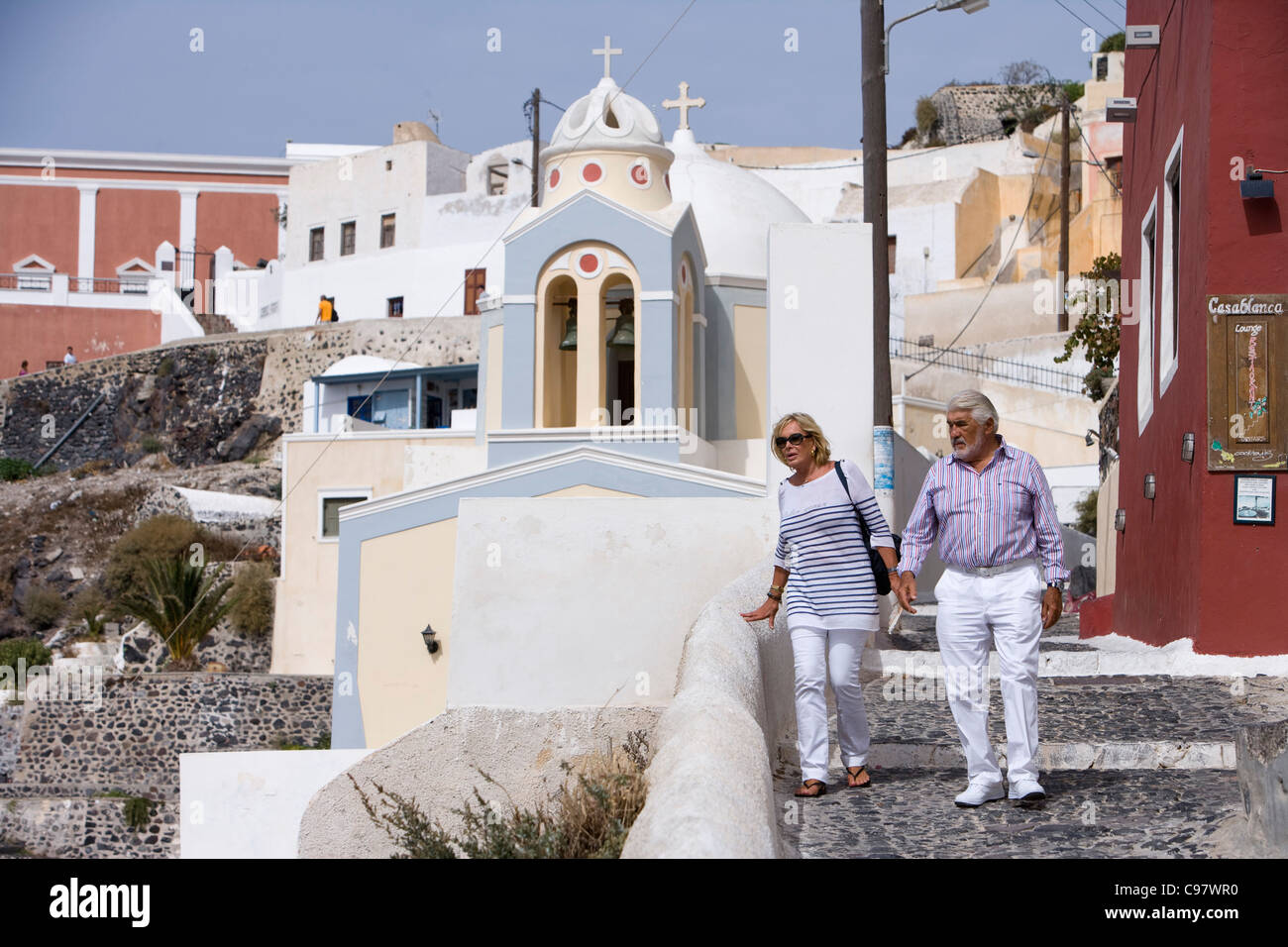 Actor Mario Adorf takes a stroll with wife Monique Adorf (on the occasion of shooting for ARD Degeto-Mona Film Production) - Stock Image