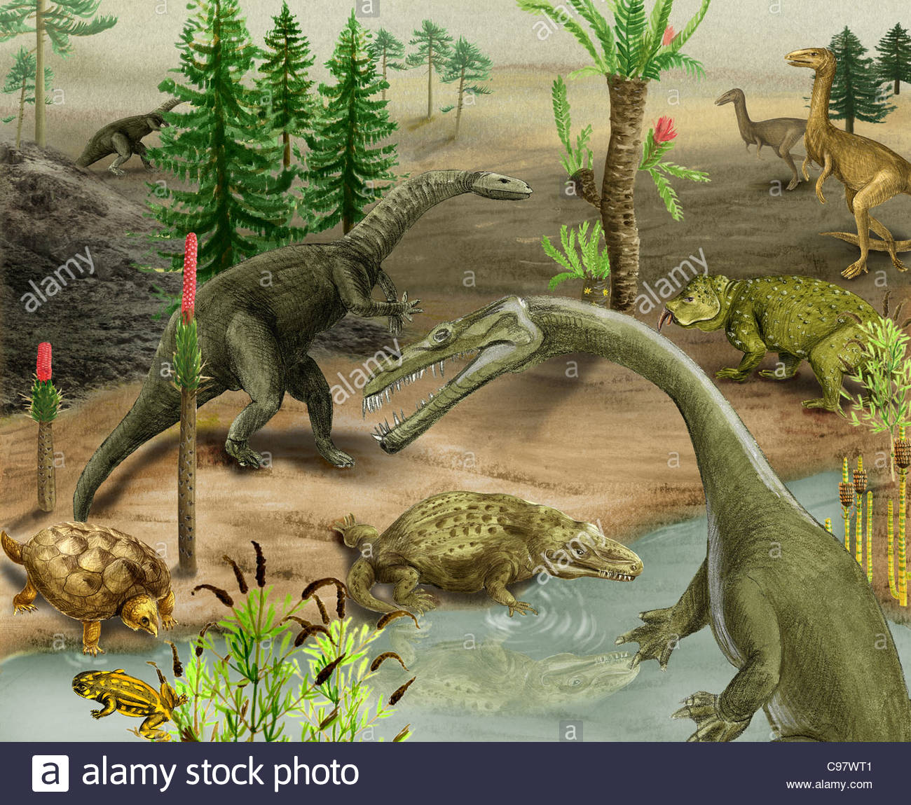 landscape in Triassic - Stock Image