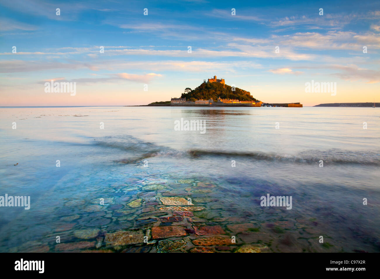 St Michael's Mount; causeway; Cornwall; UK - Stock Image
