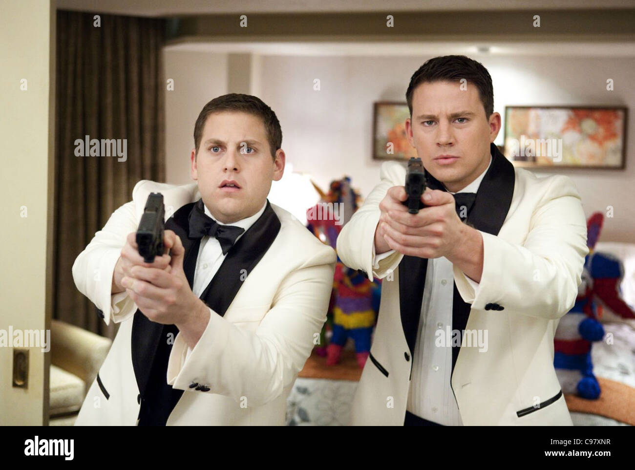 21 JUMP STREET 2012  Columbia/MGM film with Channing Tatum at left and Jonah Hill - Stock Image