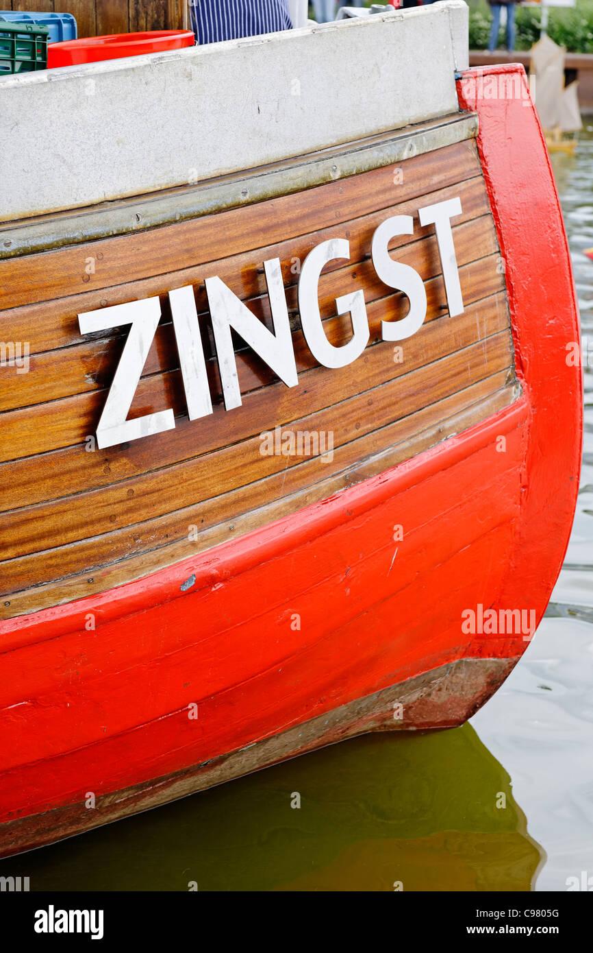 Writings on historic Sailboat, Zeesenboot, Ahrenshoop, Fischland-Darss-Zingst, Mecklenburg-Vorpommern, Germany, - Stock Image