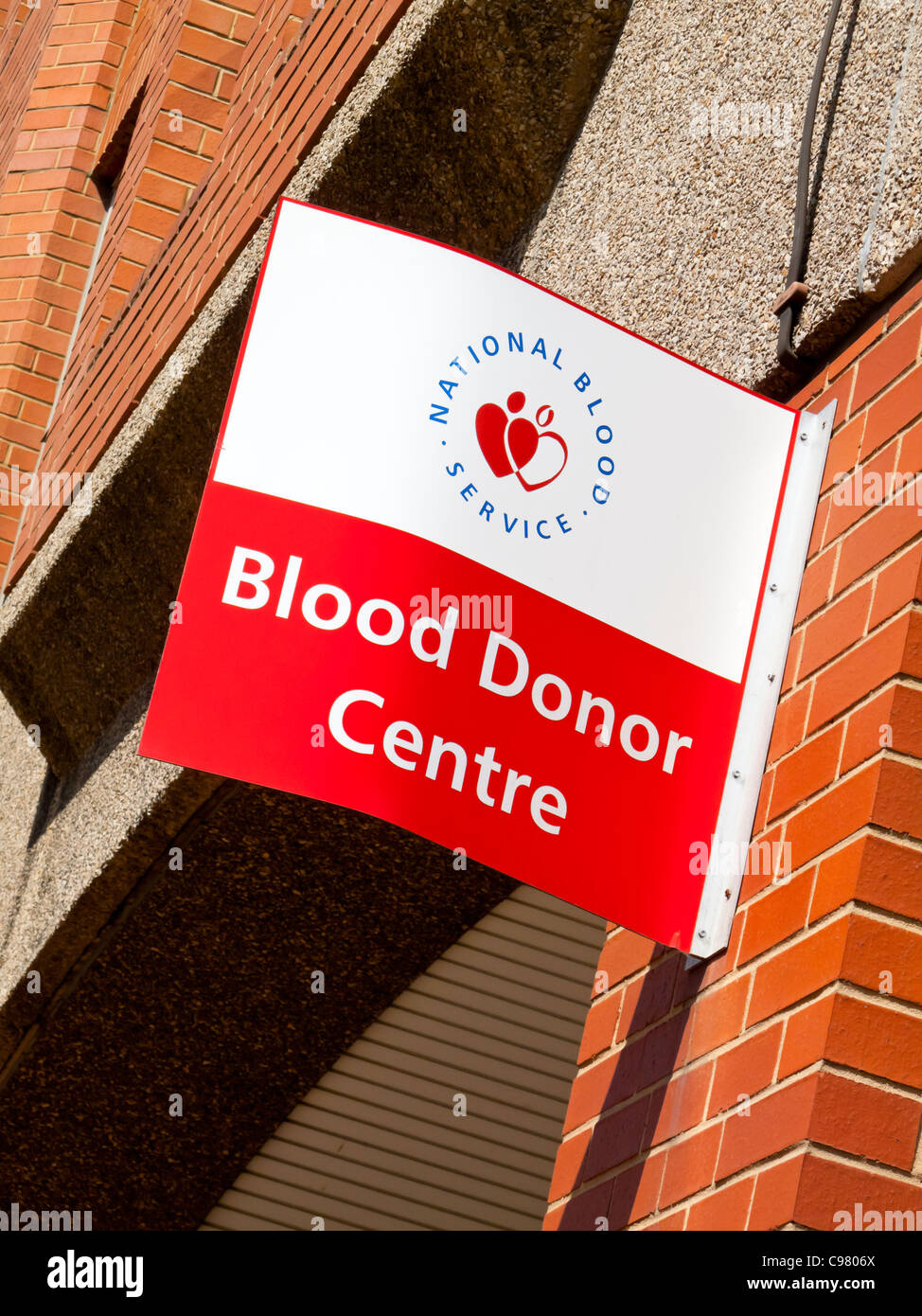 Blood Donor Centre sign outside National Blood Service premises in Sheffield UK used to collect blood for hospital - Stock Image