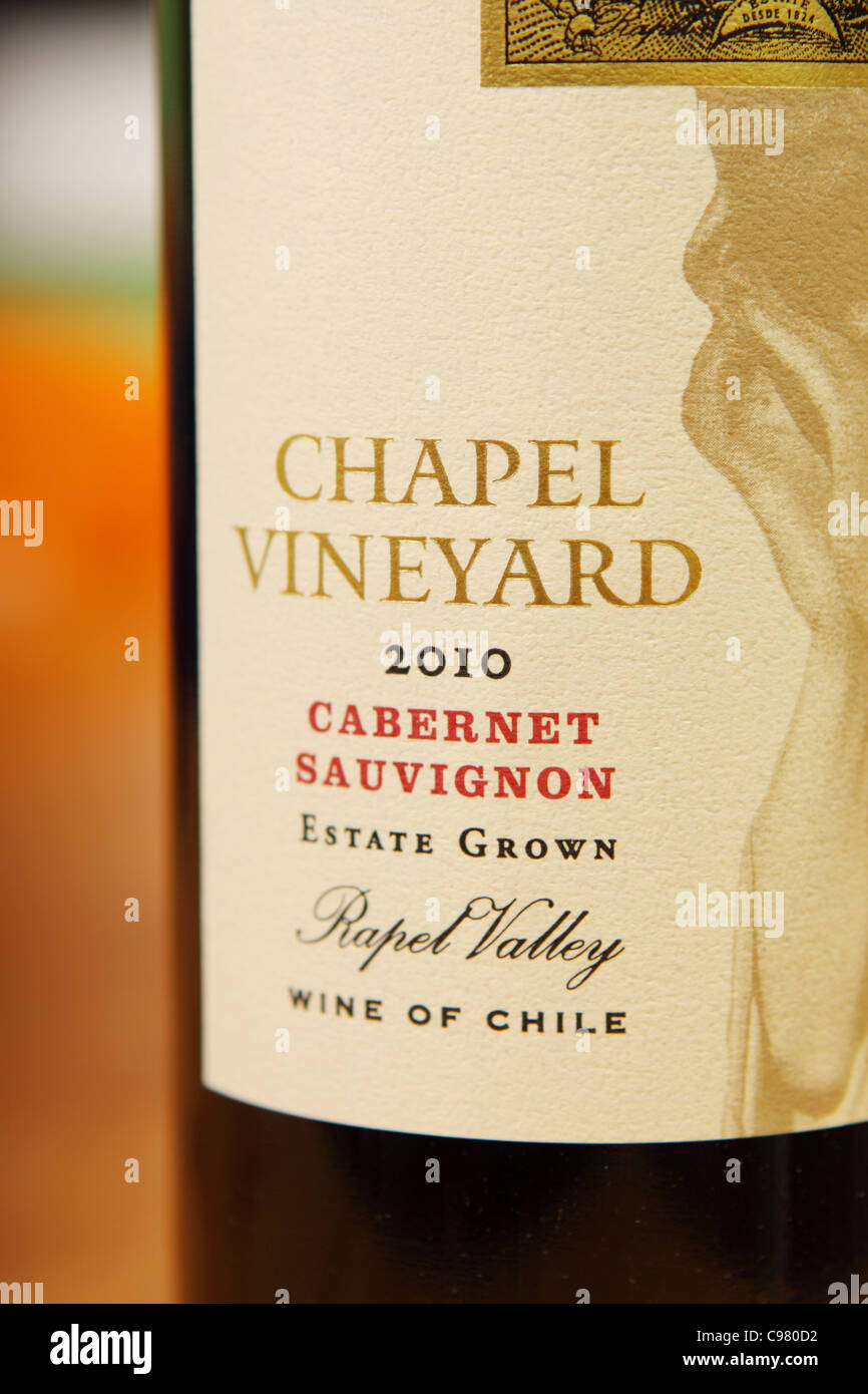 Chapel Vineyard Cabernet Sauvignon red wine from the Rapel Valley region of Chile - Stock Image