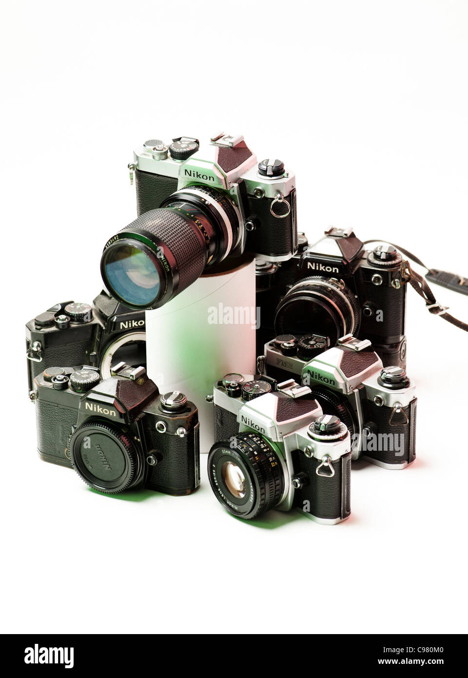 a selection of old Nikon 35mm film SLR single lens reflex cameras - Stock Image