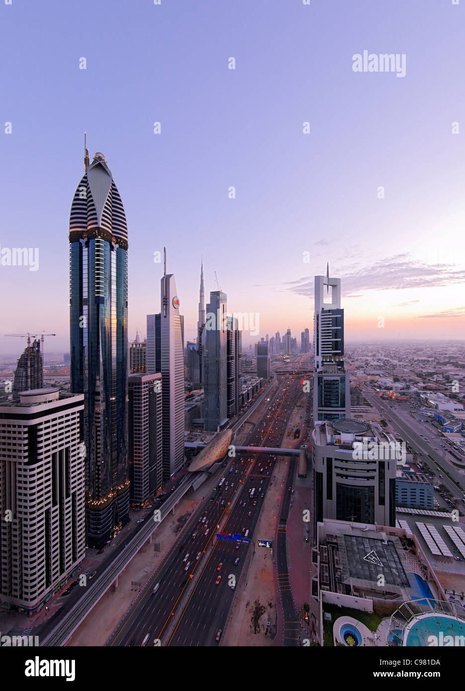 View of downtown Dubai, towers, skyscrapers, hotels, modern architecture, Sheikh Zayed Road, Financial District, - Stock Image